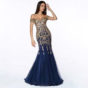 Beaded Tulle Mermaid Gown Cinderella Divine KV1035
